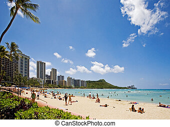 waikiki beach and diamond head, hawaii