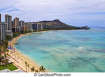 Waikiki Beach, Diamond Head on Oahu