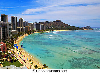 Waikiki Beach, Diamond Head on Oahu,
