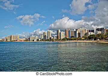 Waikiki Beach, Oahu Island Hawaii, cityscape - Cityscape...