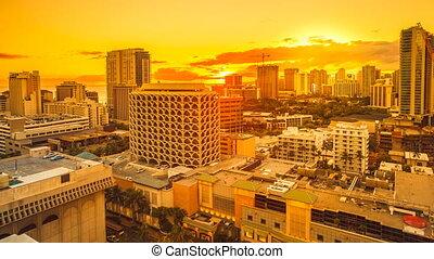 Waikiki city sunset