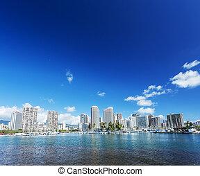 waikiki, club, yate, honolulu, cityscape, seafront
