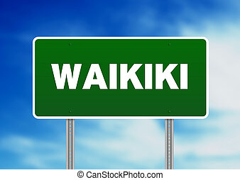 Waikiki Highway Sign - Green Waikiki highway sign on Cloud...