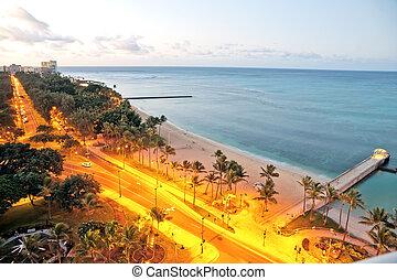 Waikiki Honolulu beach view early morning sunrise