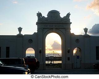 The Waikiki Natatorium War Memorial at sunset
