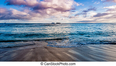 waikiki, törő, óceán lenget