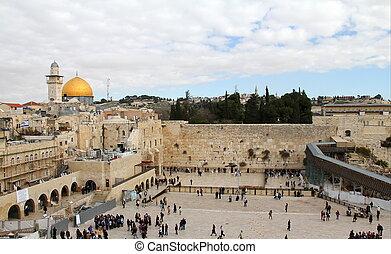 Western(Wailing) wall important jewish religious site. Jerusalem, Israel