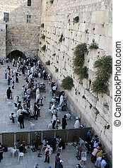 Orthodox Jews come to the Western Wall of the old city of Jerusalem to pray at the Wailing Wall in Israel.