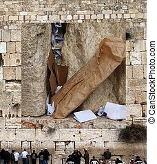Wailing Western Wall. Notes to God