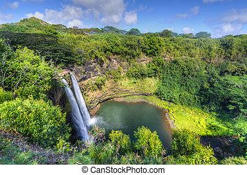 wailua, 滝, ハワイ, 落ちる