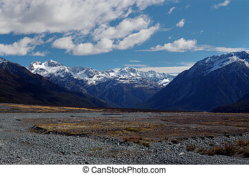 River flood plain and mountains of New Zealand