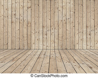 Wainscoted empty room - Room with wooden planked wall and...