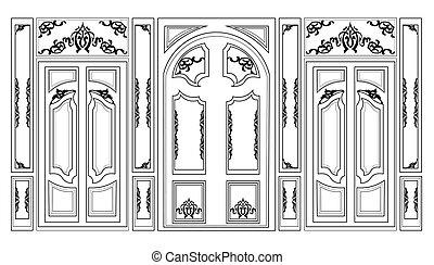 Wainscoting Decorative Damask frames - Vector wainscoting...