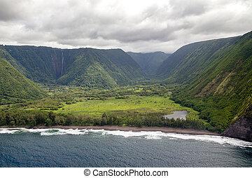 Waipio Valley, Big Island, Hawai - Aerial view of the Waipio...