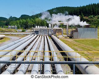 Wairakei geothermal power station in New Zealand - Wairakei...