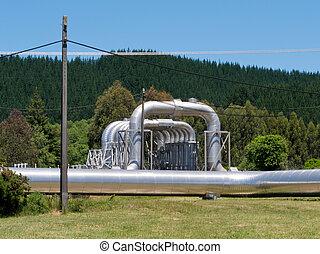 Wairakei NZ geothermal power hot water pipeline - Wairakei...