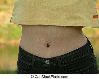 Waist - A very thin female waist with pierced belly button.