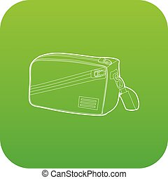 Waist bag icon green vector
