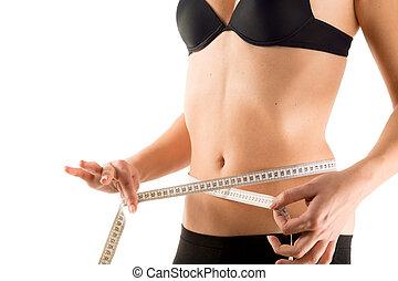 waist measurement of girl, isolated