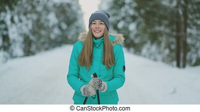 Waist up portrait of beautiful young woman smiling happily...