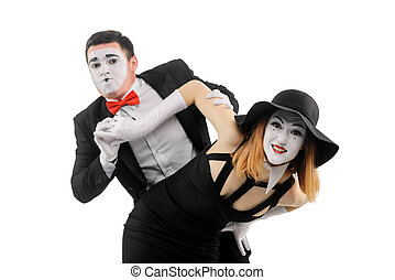 Waist up portrait of two funny mimes, isolated on white