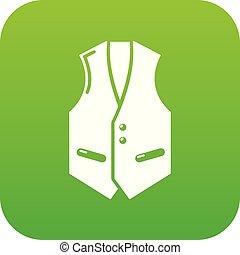 Waistcoat icon green vector