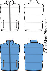 Waistcoat - Vector illustration of vest. Front and back...