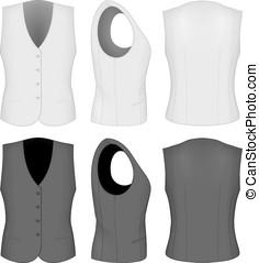 waistcoats., dames, noir, blanc