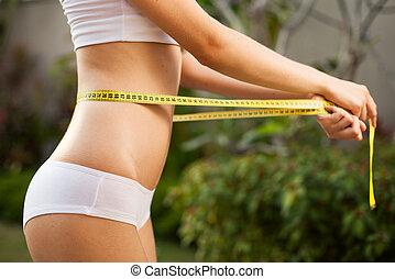 waistline., body., mesurer, elle, extérieur, femme, parfait, mince