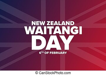 Waitangi Day. New Zealand. 6th of February. Holiday concept. Template for background, banner, card, poster with text inscription. Vector EPS10 illustration.