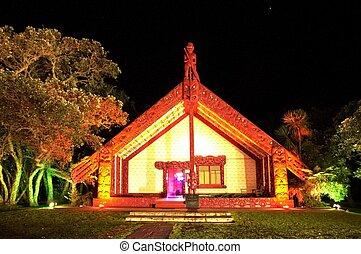 Waitangi Grounds Marae - Night outside view of the Maori ...