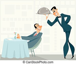 Waiter and satisfied customer - Vector illustration of a ...