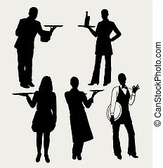 Waiter and waitress silhouette