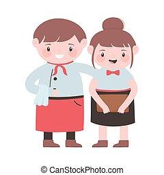 waiter and waitress with apron and menu cartoon character