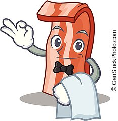 Waiter bacon mascot cartoon style vector illustration