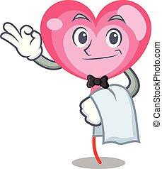 Waiter ballon heart mascot cartoon