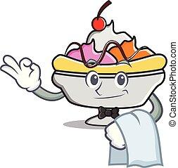 Waiter banana split mascot cartoon vector illustration