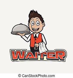 waiter banner illustration design