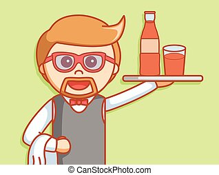 Waiter beverage  illustration desig