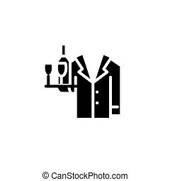 Waiter black icon concept. Waiter flat  vector symbol, sign, illustration.