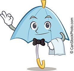 Waiter blue umbrella character cartoon