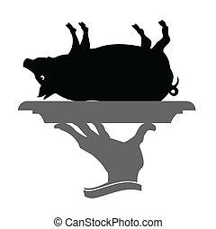 waiter brings roast pig vector black illustration