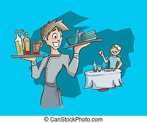 Waiter carrying drinks and dishes