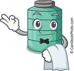 Waiter cartoon water tank on the tower vector illustration