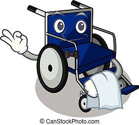 Waiter cartoon wheelchair in a hospital room