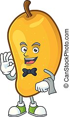 Waiter character mango fruit with cartoon mascot