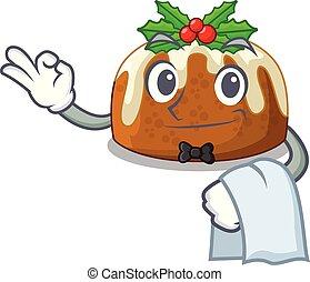 Waiter christmas pudding on dinning table cartoon