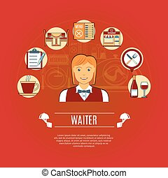 Waiter Concept Icons
