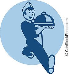 Waiter Cook Chef Baker Serving Food - Retro illustration of...