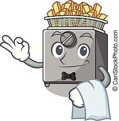 Waiter cooking french fries in deep fryer cartoon vector...